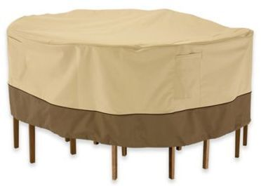 Classic Accessories® Verdana Round Patio Table and Chair Set Cover in Pebble