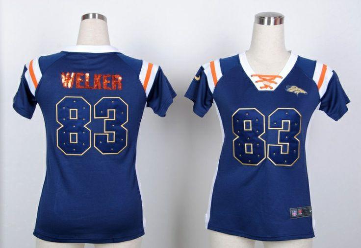 New Broncos #83 Wes Welker Blue Fashion Women Rhinestone sequins Jersey