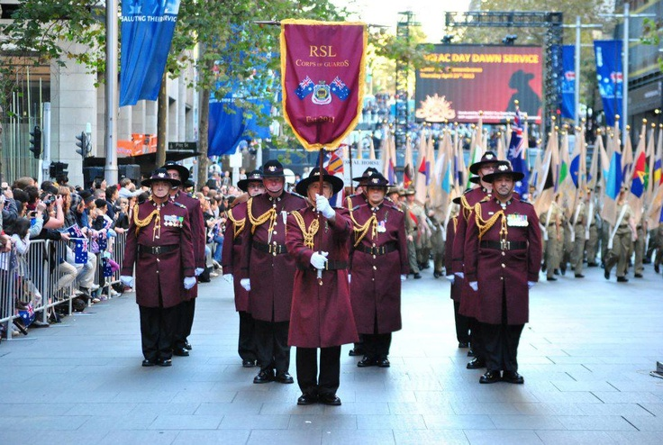 RSL Corps of Guards passing the Cenotaph on ANZAC Day 2013.