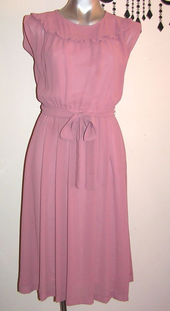 VINTAGE PRETTY LADIES DUSTY PINK DRESS WITH MATCHING JACKET SIZE 8 - 10  | eBay