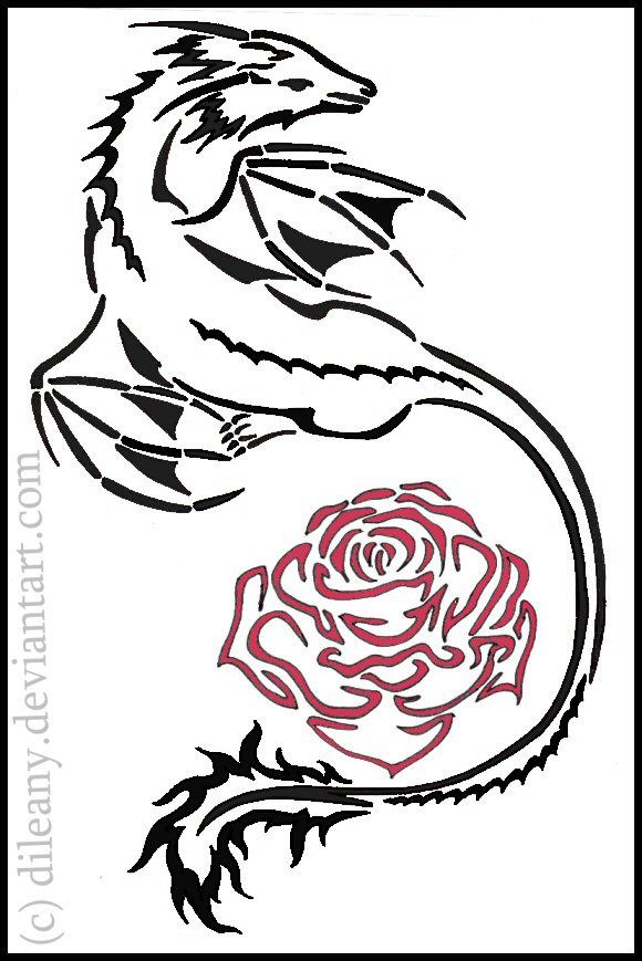 dragons with roses tatto design drawings dragon and rose tattoo by dileany on deviantart. Black Bedroom Furniture Sets. Home Design Ideas