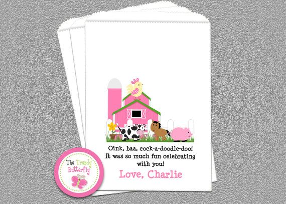 Farm Barnyard Party Favor Bags Farm Birthday by TheTrendyButterfly
