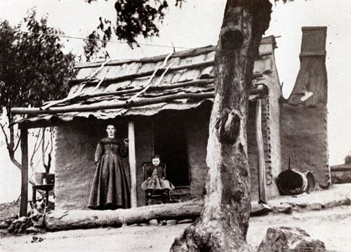 A settler's house, Hill End 1872. My husband's great grandffather lived in a similar house in Hill End at the same time.He was a goldminer.