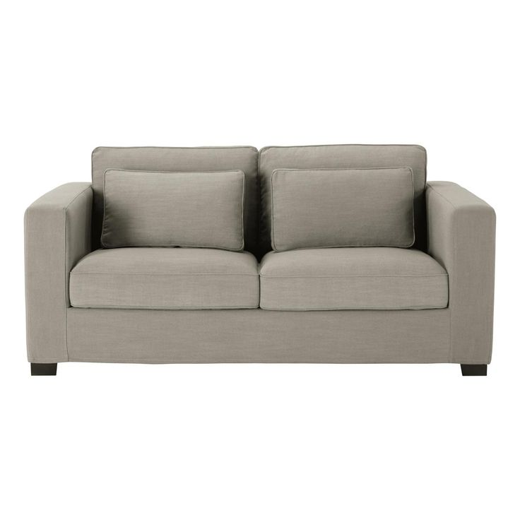 Leather Sofa Canap places convertible tissu monet gris clair Milano