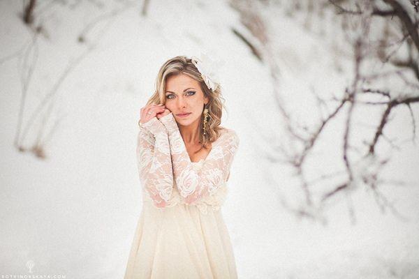 образ невесты зимой #bride #wedding #winter