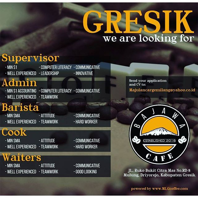 Open Recruitment  Bajawa Cafe Gresik. Kirim lamaran ke athalia@mlgcoffee.com *** #loker #lowongangresik #lowongan #lokercafe #barista #cook #kitchen #waiters #freshgraduate #MLGkonsultan #driyorejogresik #surabaya #gresik #gresikhits