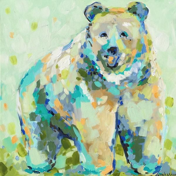 Bear Necessities - C. Brooke Ring - Love this bear painting for a boy's room! The mint color palette is absolutely gorgeous!