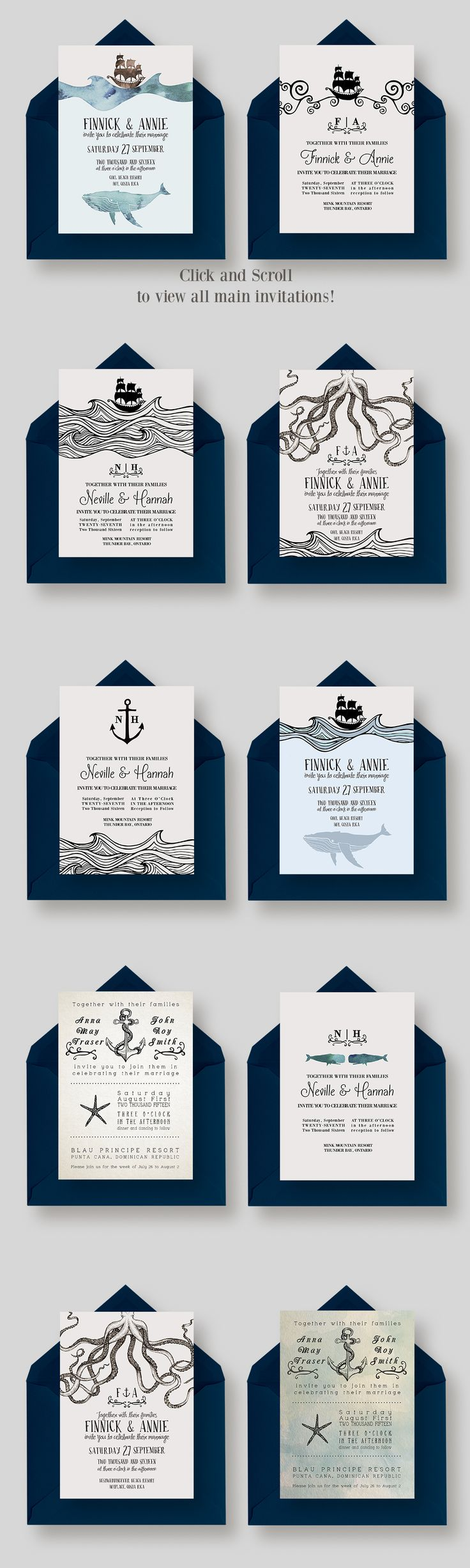 Vintage, Rustic Nautical Wedding Invitation Collection: DIY for cheap with this gorgeous set!
