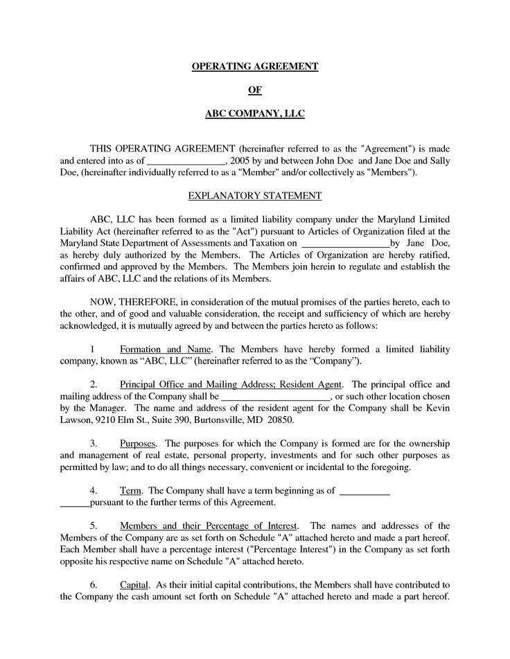 basic llc operating agreement by jmcinerny