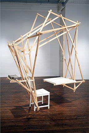 Desk, 2009  wood, brick, latex paint, wax  105 x 72 x 88 inches