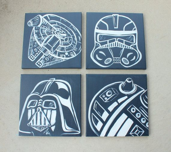 star wars art . 4 - 12x12 canvases . millennium falcon, darth vader, storm trooper, R2D2 or yoda.