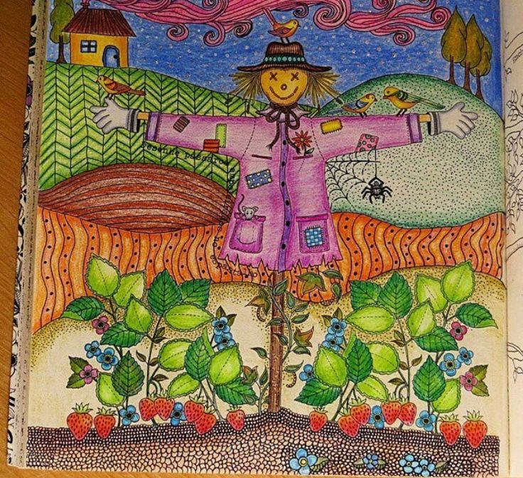 Johanna Basford Secret Garden Scarecrow Coloring Bookadult