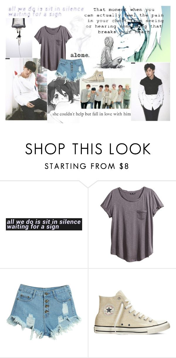 """""""falling down in hopeless love part 4"""" by emma-mae98 ❤ liked on Polyvore featuring H&M, WithChic, Love Quotes Scarves and Converse"""