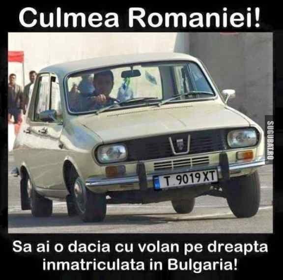 Culmea Romaniei! Sa ai Dacia cu volan pe dreapta inmatriculata in Bulgaria…