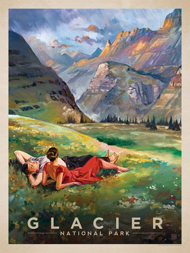 Glacier national Park: A View to Remember - Anderson Design Group has created an award-winning series of classic travel posters that celebrates the history and charm of America's greatest cities and national parks. Founder Joel Anderson directs a team of talented artists to keep the collection growing. This oil painting by Kai Carpenter celebrates the majestic beauty of Glacier National Park.<br />