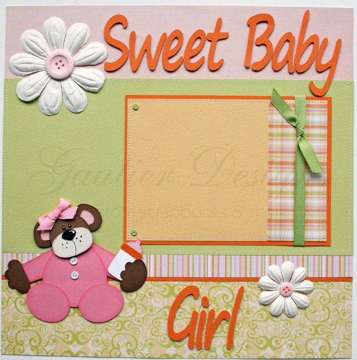 Baby Scrapbook Layouts | 12x12 premade scrapbook pages Sweet Baby Girl by gautierdesigns