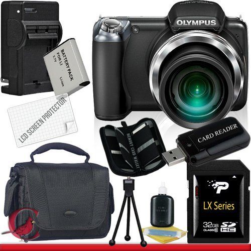 Olympus SP-810UZ Digital Camera (Black) 32GB Package 6 by Olympus. $259.89. Package Contents:  1- Olympus SP-810UZ Digital Camera (Black)  w/ All Supplied Accessories 1- 32GB SDHC Class 10 Memory Card   1- USB Memory Card Reader  1- Rechargeable Lithium Ion Replacement Battery  1- Weather Resistant Carrying Case w/Strap  1- Pack of LCD Screen Protectors  1- Camera & Lens Cleaning Kit System  1- Mini Flexible Table Top Tripod 1- Memory Card Wallet 1- Rapid External Ac/Dc...