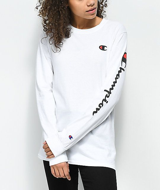 c58eda90 Champion Big C Script White Long Sleeve T-Shirt in 2019 | winter ...