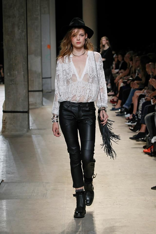 Zadig & Voltaire Spring-Summer 2014 Fashion Show #ParisFashionWeek #Zadig #zadigetvoltaire #white #lace #black #leather #pants #boots