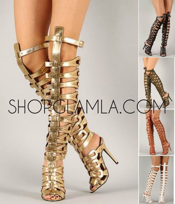 Breckelles Sexy Strappy High Heel Gladiator Sandal Caged Studded 5