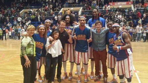 chris corben with Harlem globetrotters