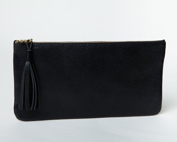 Leather Clutch,Purse,Wallet,Pouch, Black on Etsy, $54.58 AUD