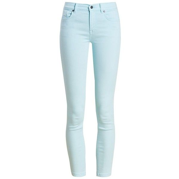 Women's Barbour Essential Cropped Trousers - Aqua ($75) ❤ liked on Polyvore featuring pants, capris, blue pants, slim pants, slim-fit trousers, 5 pocket pants and aqua pants