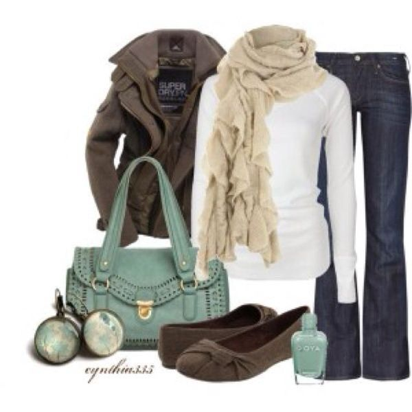 Casual outfit: <3 scarf and shoes. Color palette: white, tan, brown, teal, and blue.