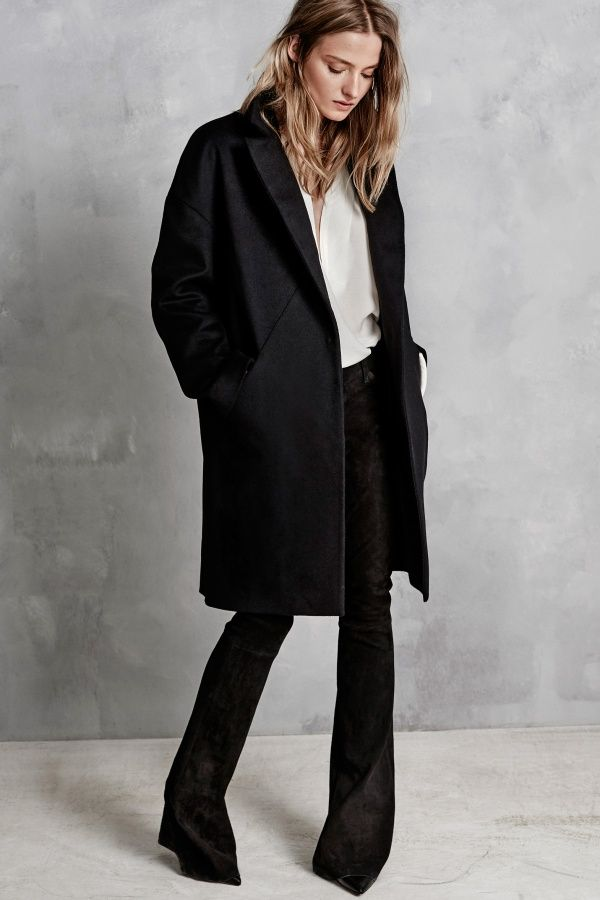 black coat and suede pants