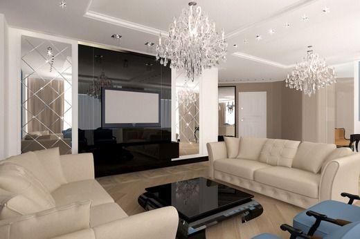 Дизайн интерьера гостиной в стиле Минимализм с элементами Арт Деко. Гостиная