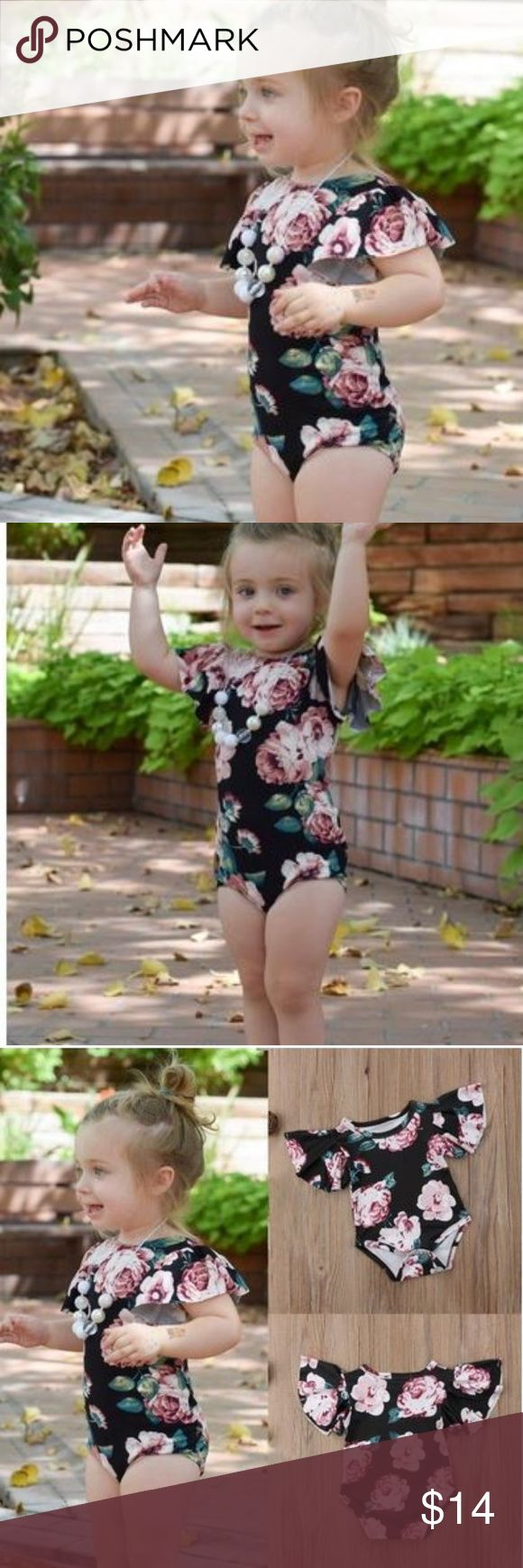 Boutique baby girl romper Black with pink flowers and soft flowy sleeves. Snaps at the crotch and is stretchy but silky leotard type look. Perfect for baby's first dance practice! New in bag. One Pieces
