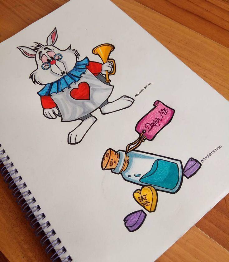 Meine Disney Zeichnung Coelho Da Alice No Pais Das Maravilhas