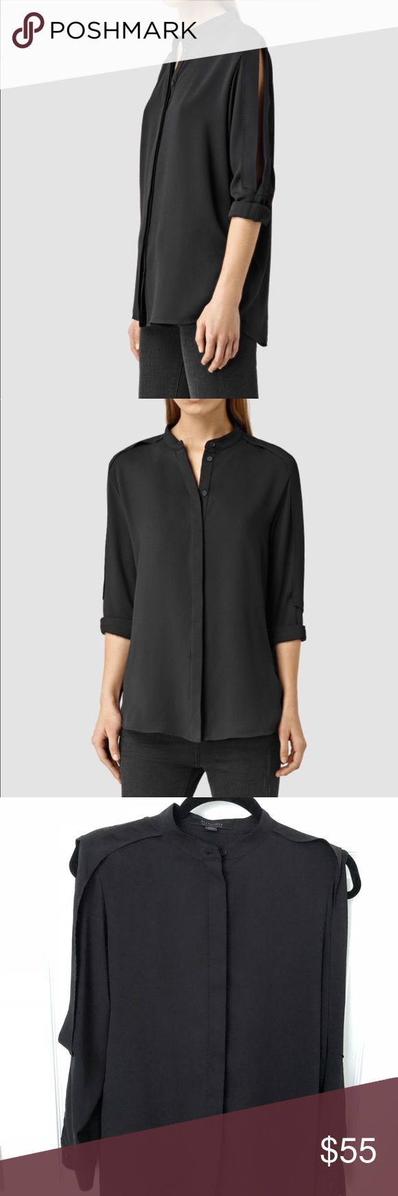 Allsaints Alvey shirt Barely worn, like new. Slits on sides of sleeves detail. Sleeves can be rolled up or worn long. All Saints Tops Blouses