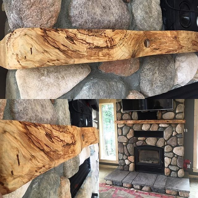 Giant Live Edge Maple Fireplace Mantel