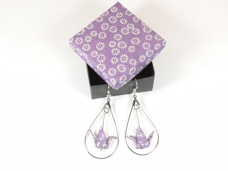 Boucles d'oreille grues origami papier washi parme et créoles goutte en métal argenté