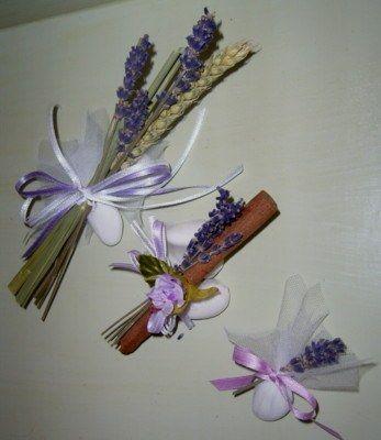 Matrimonio ed eventi a tema lavanda - Segnaposto con confetti: lavanda, cannella, grano e rosellina