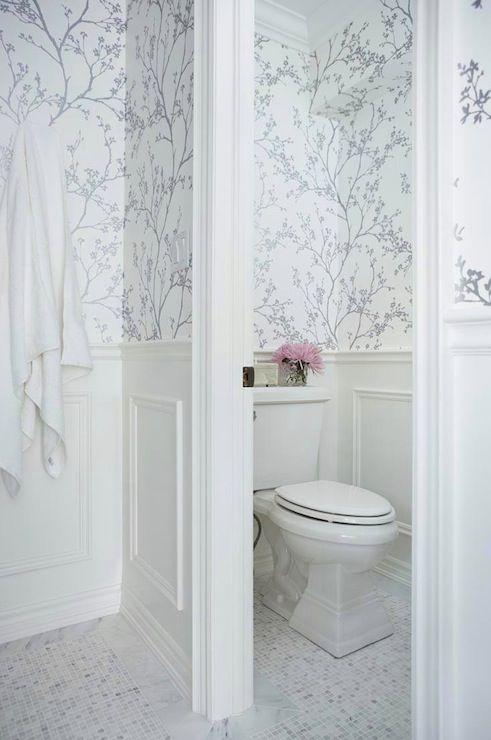 Cool Suzie Jennifer Worts Design Water closet with F Schumacher Twiggy Silver Wallpaper white
