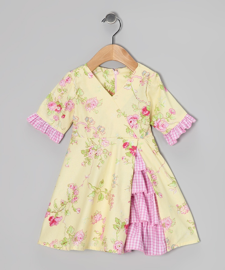 Yellow Tiny Roses Vintage Ruffle Dress - Toddler & Girls