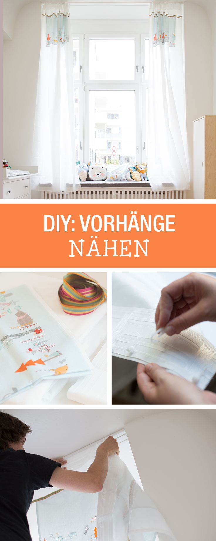 Nähanleitung für Deko: Lichtdurchlässige Vorhänge machen das Kinderzimmer hell und freundlich / diy sewing tutorial: simple, decorative curtains provide light and openness via DaWanda.com