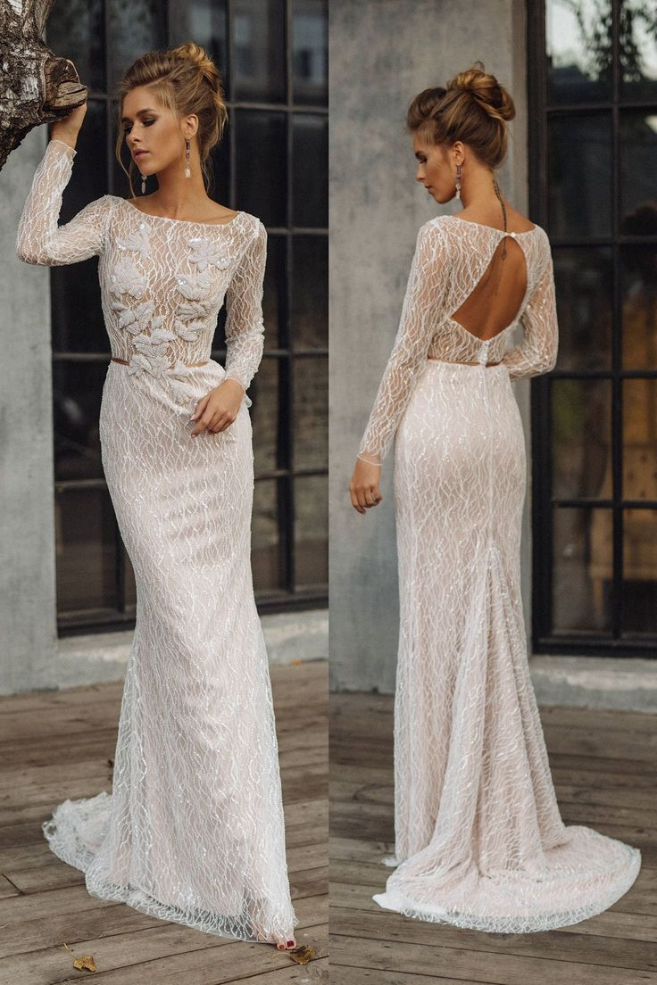 Marriage ceremony gown 'LEONI' // Luxurious mermaid bridal robe, elegant and attractive marriage ceremony gown, beaded, glittering, shiny, glowing marriage ceremony gown
