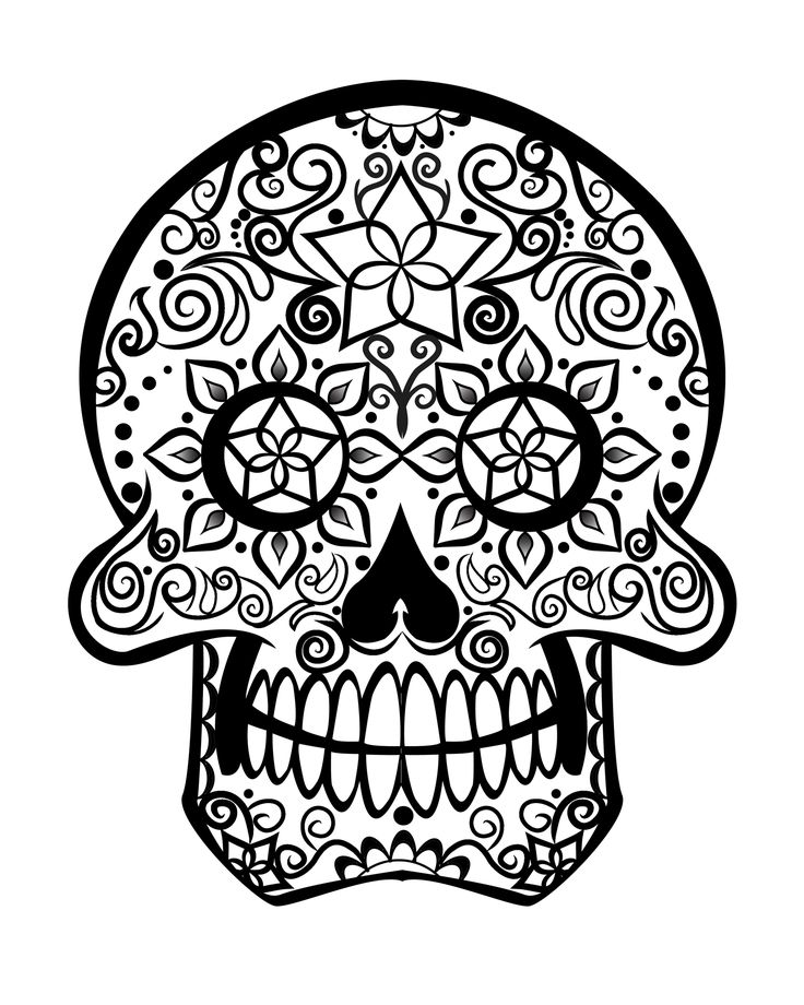 dia de los muertos colouring pages sugar skull coloring page - Sugar Skull Coloring Pages Print