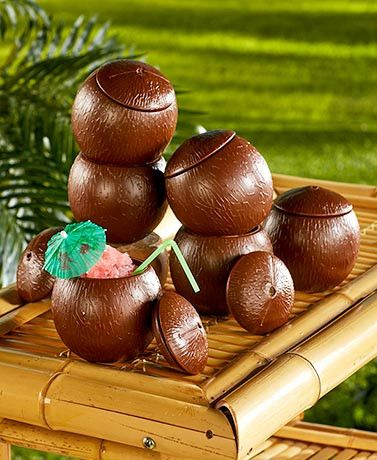 """Give your next event a fun Hawaiian twist with Luau Party Supplies. Dish out drinks with these Coconut Shell Cups. - Make your next party a luau - Details: - Coconut Shell Cups, 4-1/8"""" dia. x 4-1/2""""H,"""