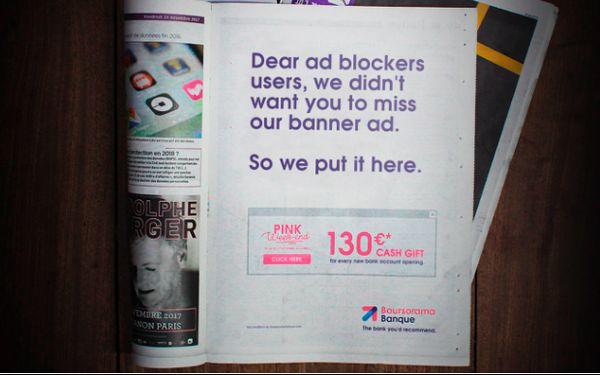 Ad-Blocking Comes Full Circle: Online Bank Uses Newspaper Ads To Reach Blockers 11/27/2017