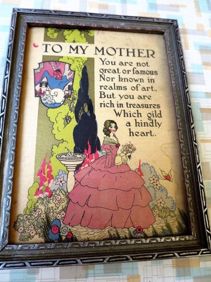 "Vintage ""To My Mother"" Framed Motto Poem - 1920s Era - Buzza Like #ArtDeco"