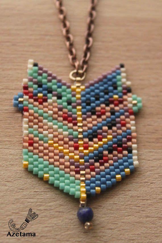 Ensemble original chaine et pendentif en perles tissées Miyuki