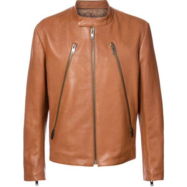 Maison Margiela zip front jacket ($2,635) ❤ liked on Polyvore featuring men's fashion, men's clothing, men's outerwear, men's jackets, brown, mens brown jacket, mens brown leather jacket, mens leather jackets, mens real leather jackets and mens quilted jacket