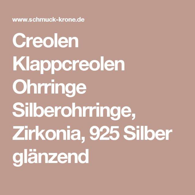 Creolen Klappcreolen Ohrringe Silberohrringe, Zirkonia, 925 Silber glänzend
