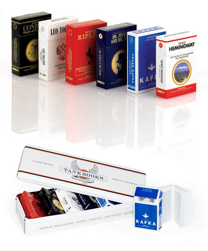 These are not cigarettes. They are mini books, classics by famous authors.: Minis Book, Classic Book, Packs Book, Gifts Ideas, Tanks Book, Heart Of Dark, Book Design, Cigarette Packs, Book Packaging