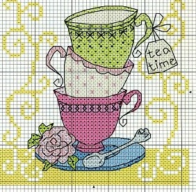 Cross-stitch Teacups ... no color chart available, just use the pattern chart as your color guide..