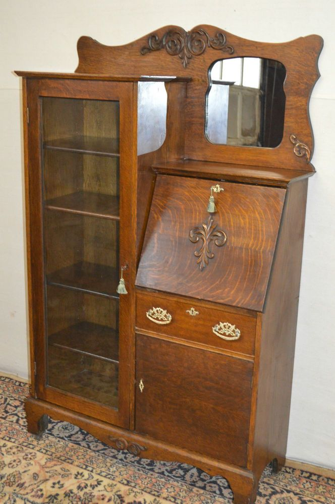Larkin Antique 1900u0027s Drop Front Tiger Oak Secretary Desk Side By Side  Bookcase